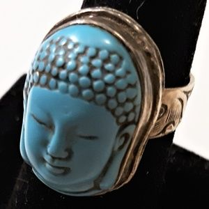 Jewelry - Sterling Silver Turquoise Buddha Ring Adjustable